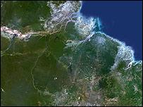 Foto satelital de la forestación en Brasil